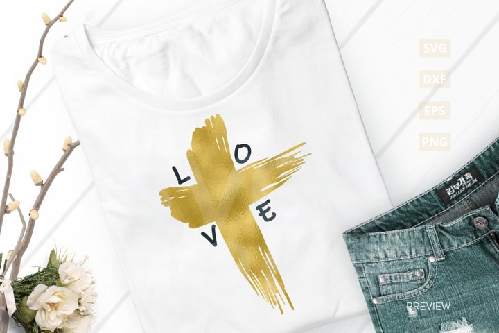 Easter Love Cross SVG Cut File, svg, dxf,eps, png