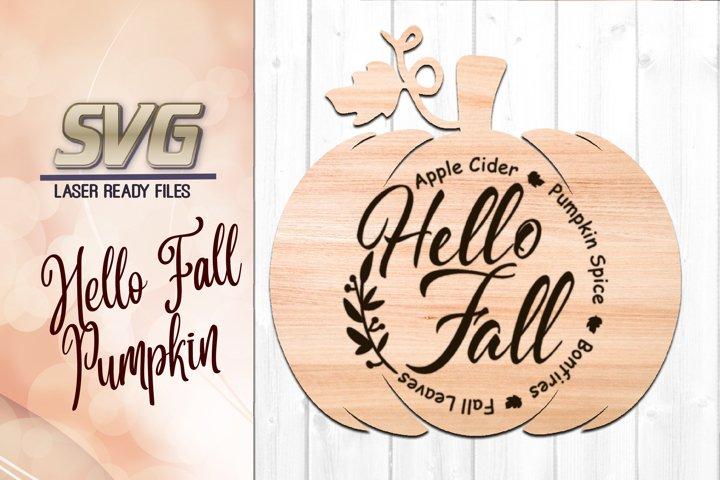 Hello Fall Pumpkin SVG Glowforge Files Laser Ready