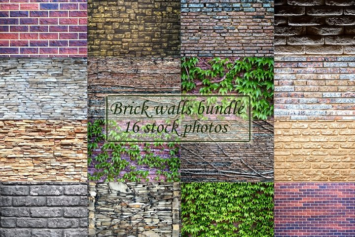 Brick walls bundle 16 stock photos.