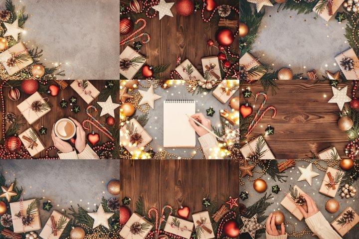 Christmas set of festive backgrounds.