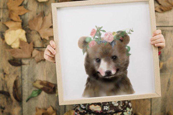 Nursery Decor Girl, Bear Print ,Animals with Flower Crowns
