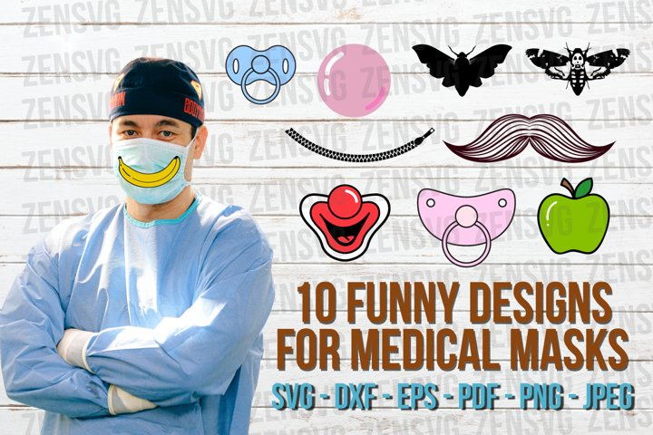 10 Funny Face Mask Designs Cut File Bundle