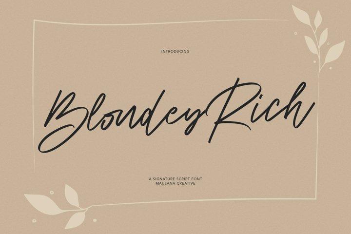 Blondey Rich Signature Script Font
