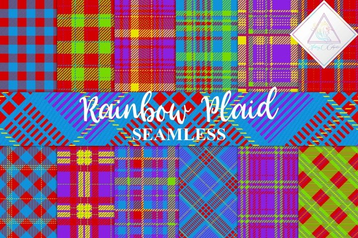 Rainbow Plaid Digital Paper