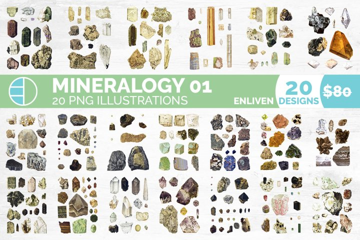 Crystals Gems Mineralogy Clipart Bundle