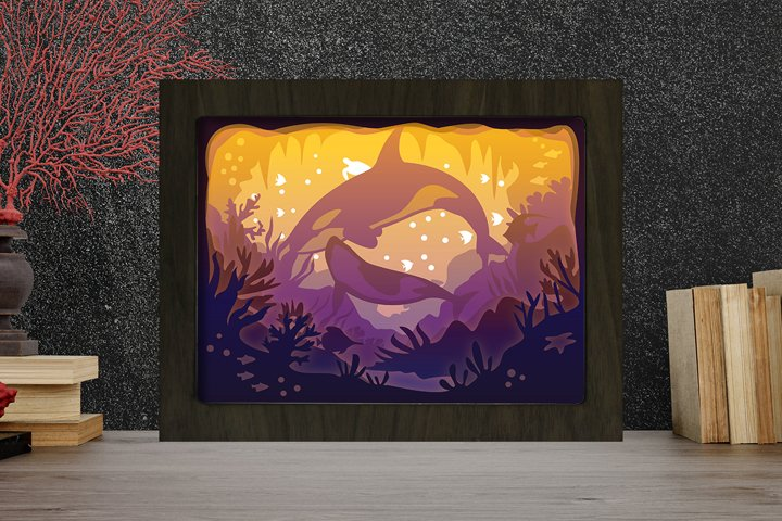 Simplified Orca Whales 3D Paper Cut Light Box - Shadow box