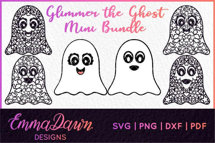 GLIMMER THE GHOST SVG MINI BUNDLE HALLOWEEN ZENTANGLE DESIGN