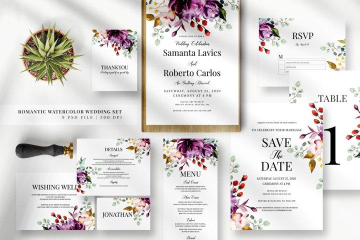 Romantic Watercolor Wedding Set