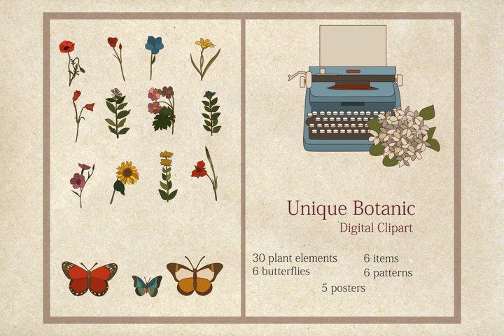 Unique Botanic Digital Clipart - Individual PNG Files