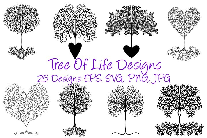 25 Tree Of Life Black Template SVG, JPG, EPS, SVG Files