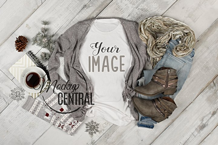 Womens White T-Shirt Apparel Winter Shirt Mockup Flat Lay