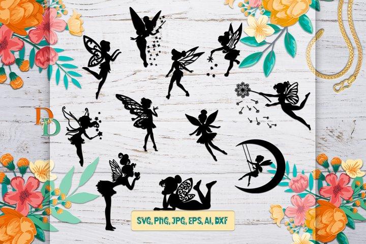 Fairies Silhouettes, Silhouette Digital Download, Fairy SVG