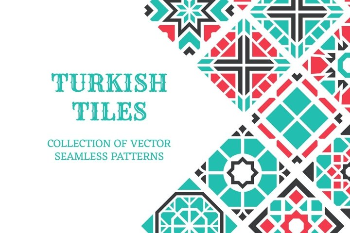 10 Turkish seamless tiles EPS PSD PAT JPG
