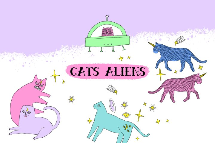 Magical Cats Aliens Set