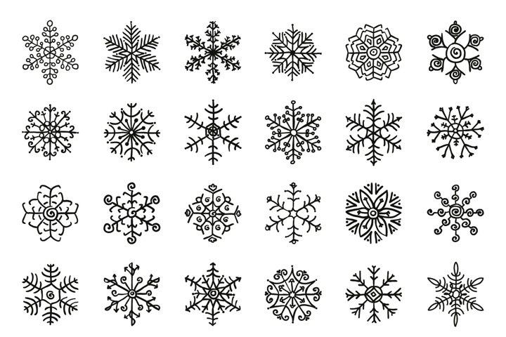 Black Winter Snowflakes Doodles. Hand-Drawn Xmas Vector.