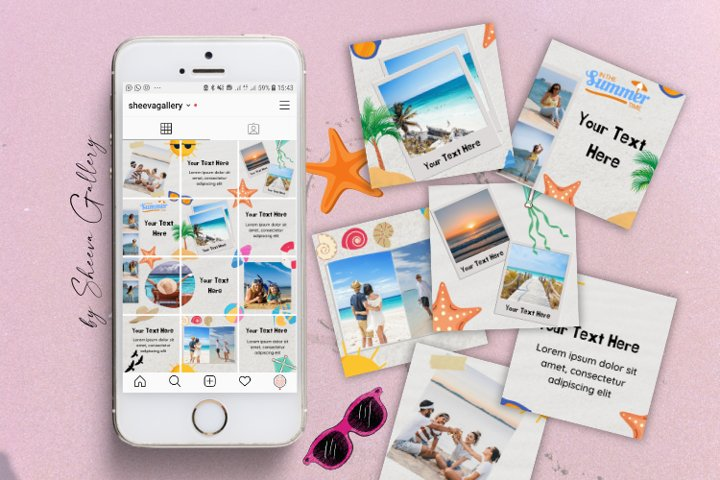 Instagram Puzzle Template Canva   Summer Theme