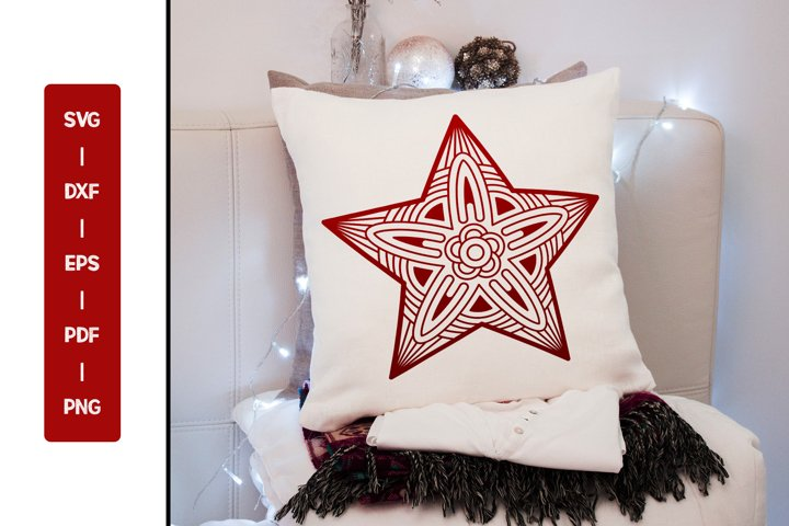 Star Mandala SVG, Christmas Mandala SVG DXF PNG Cut Files