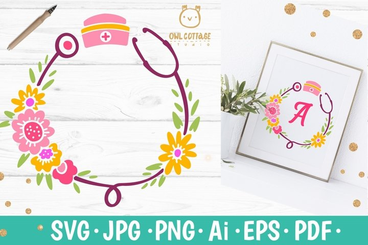 Floral Stethoscope SVG, Nurse Floral Monogram SVG