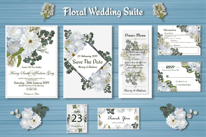 White Floral Wedding Invitation Suite