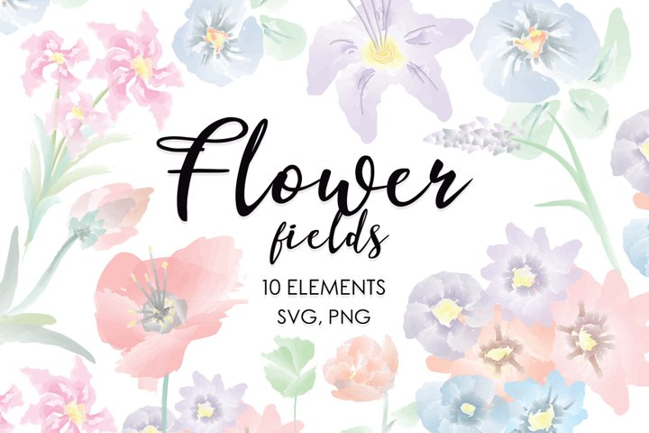 Watercolor Flowers, Wedding Bundle, Floral Bundle, Bohemian