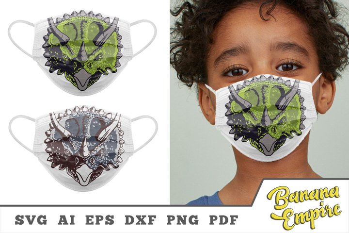 Triceratops svg, Dino face for protective face mask