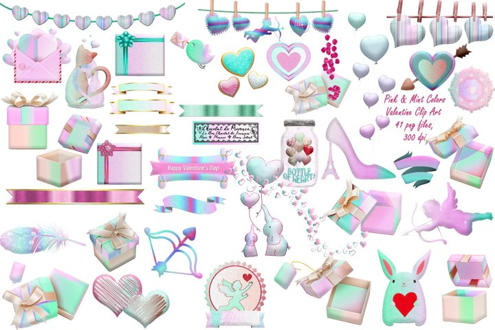Valentines Day Mint Shades & Pink Clip Art