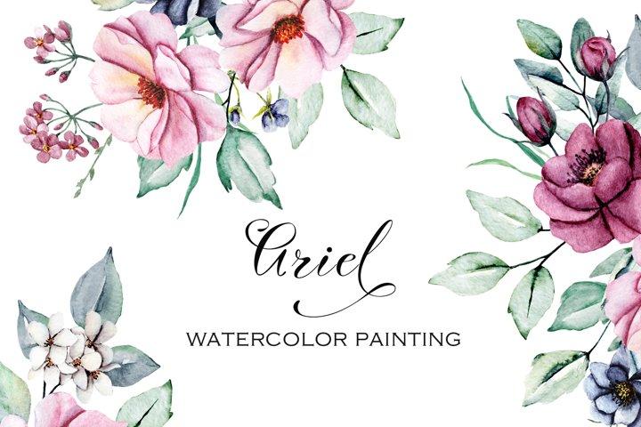Watercolor flowers pink peonies bundle, hand painting.