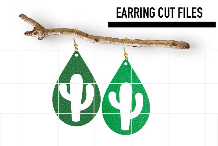 Cactus Earrings Svg / Leather / Faux / Wood / Laser Cut