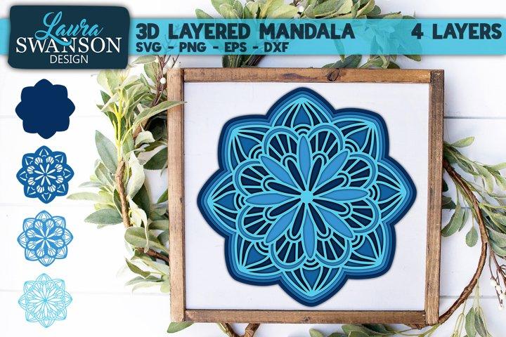 3D Layered Mandala SVG | 3D Papercut Mandala | Stacked Paper