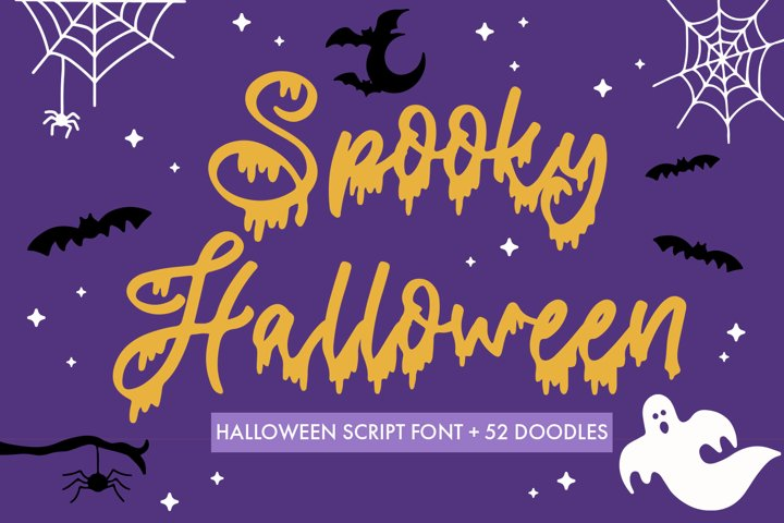 Spooky Halloween Dripping Script With Doodles