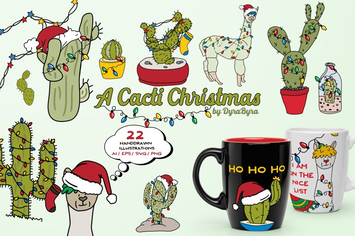 Llama and Cactus Christmas Illustrations