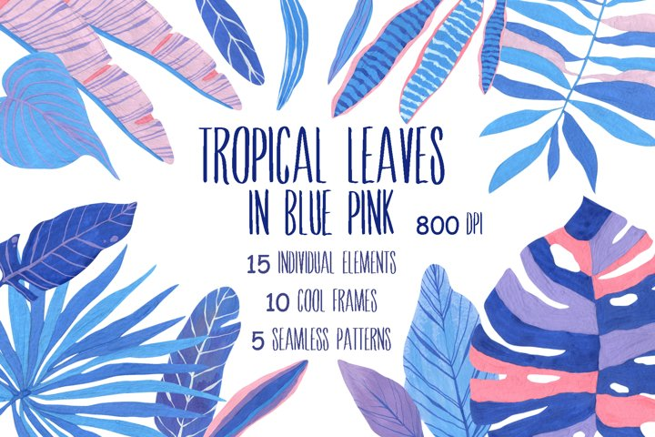 Tropical leaves in blue pink