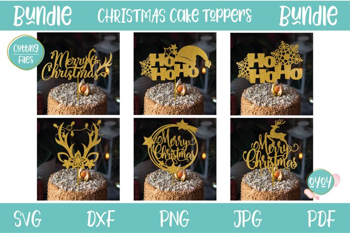 Christmas Cake Toppers Bundle | SVG Cutting Files