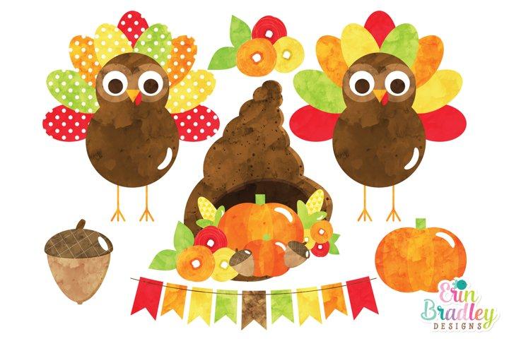 Watercolor Thanksgiving Turkeys Clipart