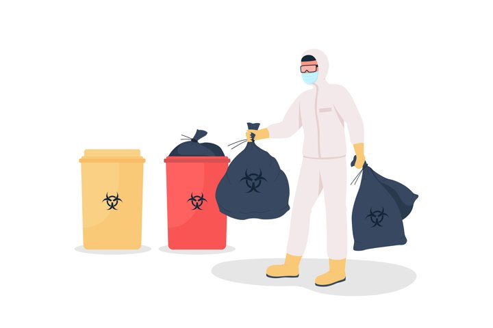 Throwing out rubbish flat color vector faceless character