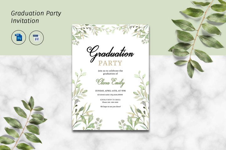 Graduation Party Flyer Template, MSWord & Photoshop template