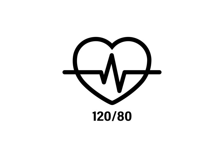 Normal heart icon and blood pressure 120 by 80. Medical