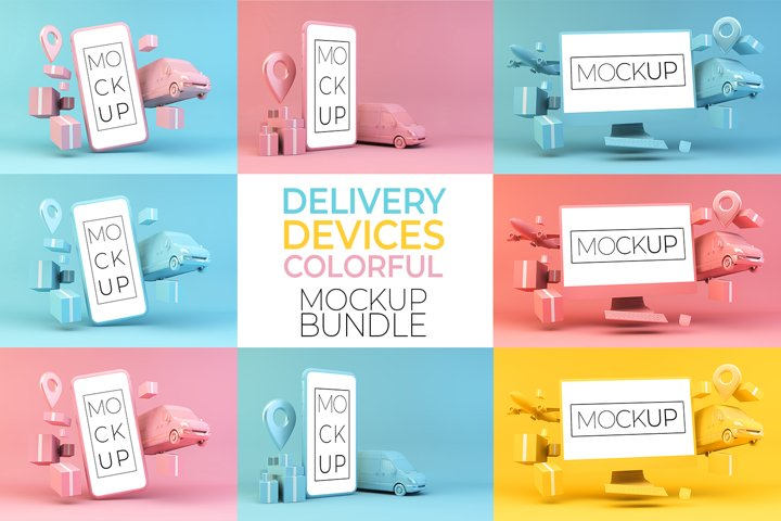 Delivery Devices Colorful Mockup Bundle
