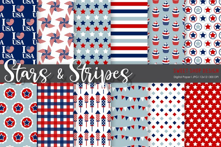 Digital Paper Stars And Stripes, 12x12, Set of 12 Papers