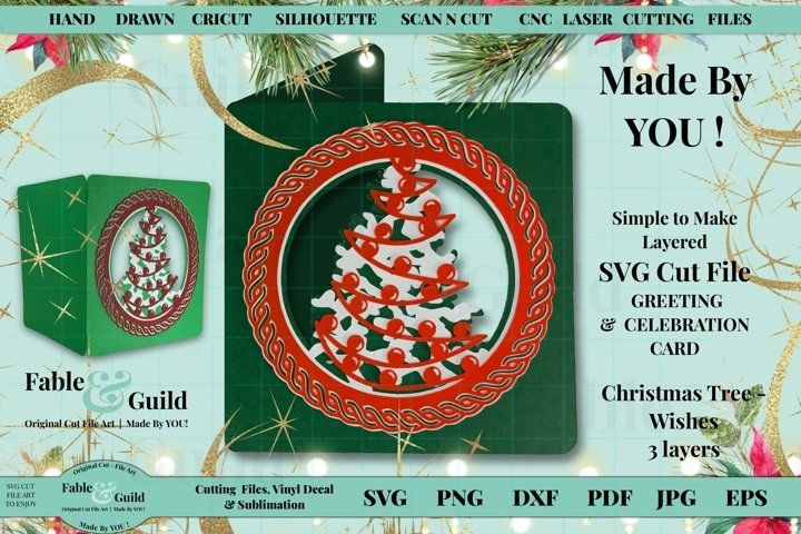 3D Layered Design Christmas Tree Bauble Card SVG Cut File