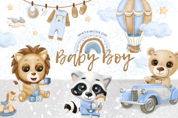 Baby Boy Watercolor Clip Arts, Animals, Kids art, Lion, Bear
