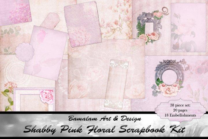 Shabby Pink Floral Scrapbook Kit
