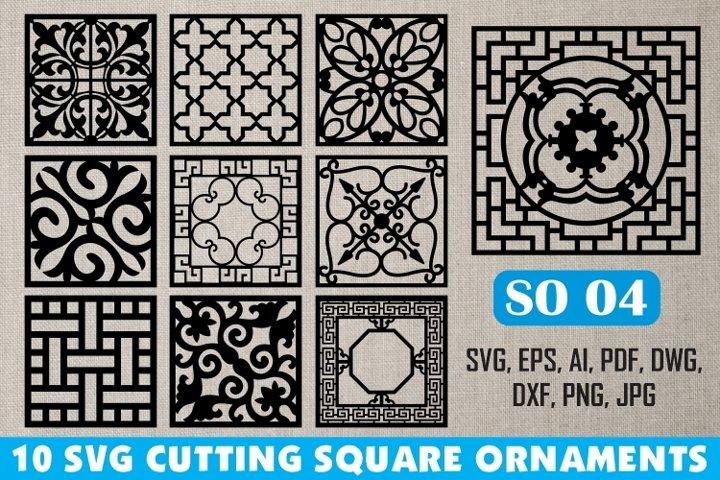 SO 04, 10 SVG CUTTING SQUARE ORNAMENTS