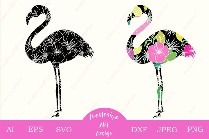 Flamingo svg, Tropical bird with flower dxf, Silhouette svg