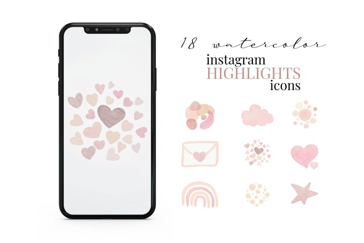 Instagram Story Highlight Icons, Watercolor Abstract