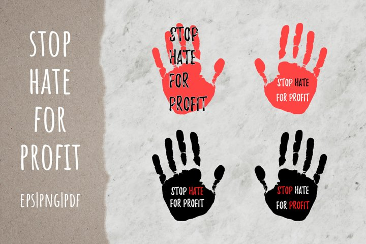 Stop Hate For Profit sign Anti advertising quote
