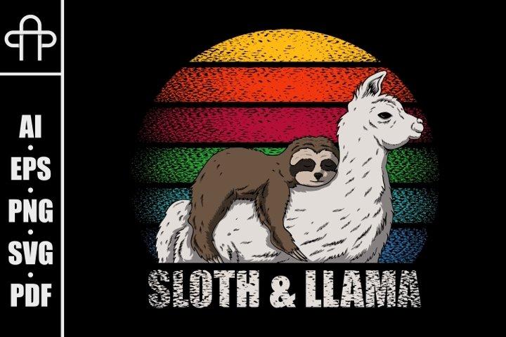 Sloth and llama retro vector illustration