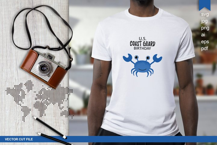 US Coast Guard Birthday svg, Cute crab, vector