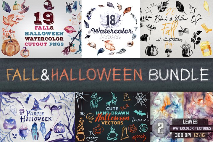 Fall & Halloween Watercolor Illustrations and Vectors Bundle