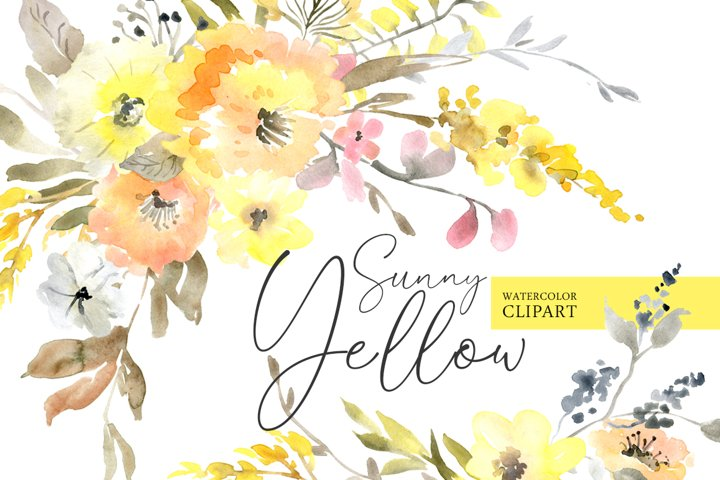 Yellow Watercolor Flowers, Bouquets, Wreaths